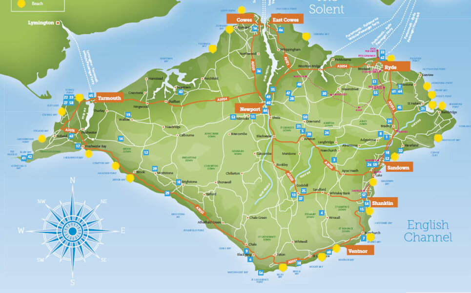 the isle of wight map large  Isle of Wight for hotels bed and